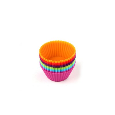 Reusable Silicone Baking Cups, Multi-colors Muffin Cup Liners, 12PCS