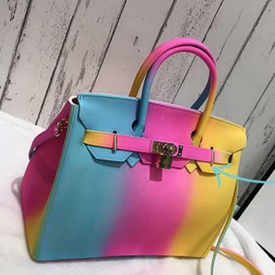 Colorful Contrast Women's Fashion Jelly Bag, Rainbow Colored Matte PVC Beach Handbag Tote Bag