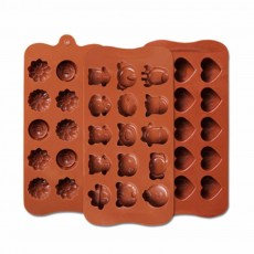 Multi Shape Baking Mold with 15 Holes, Silicone Chocolate Candy Pudding Jelly Lollipop Silicone DIY Mold