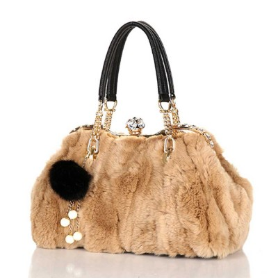 Women's Wild Rabbit Hair Handbag With Flat Hand Strap, Fashion Simple Shoulder Tote for Ladies