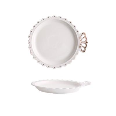 Crown Dinner Plates 10 Inches Porcelain Ceramic Breakfast Tray Steak Plate Household Tableware Dinner Plate