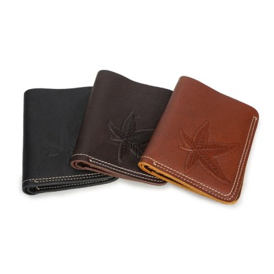 First Layer Genuine Leather Short Wallet for Men with Multi-cards and Two-fold