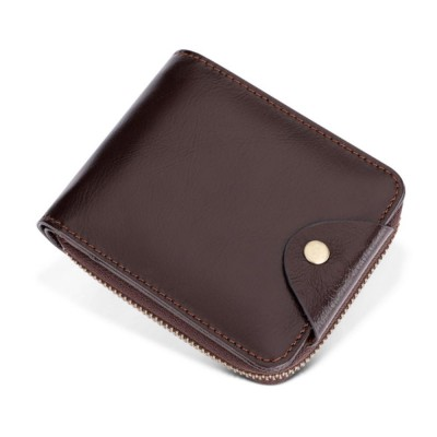 Men's Small Leather Wallet With Coin Pocket, Wear-Resistant Fashion Business Purse