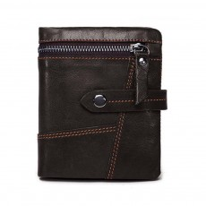 Retro Motorcycle Leather Zipper Purse, Men's Wear-resistant Leather Short Wallet with Stitching and Tri-fold Design