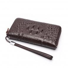 Men's Crocodile Pattern Long Wallet with Metal Zipper, Genuine Leather Clutch Business Bag