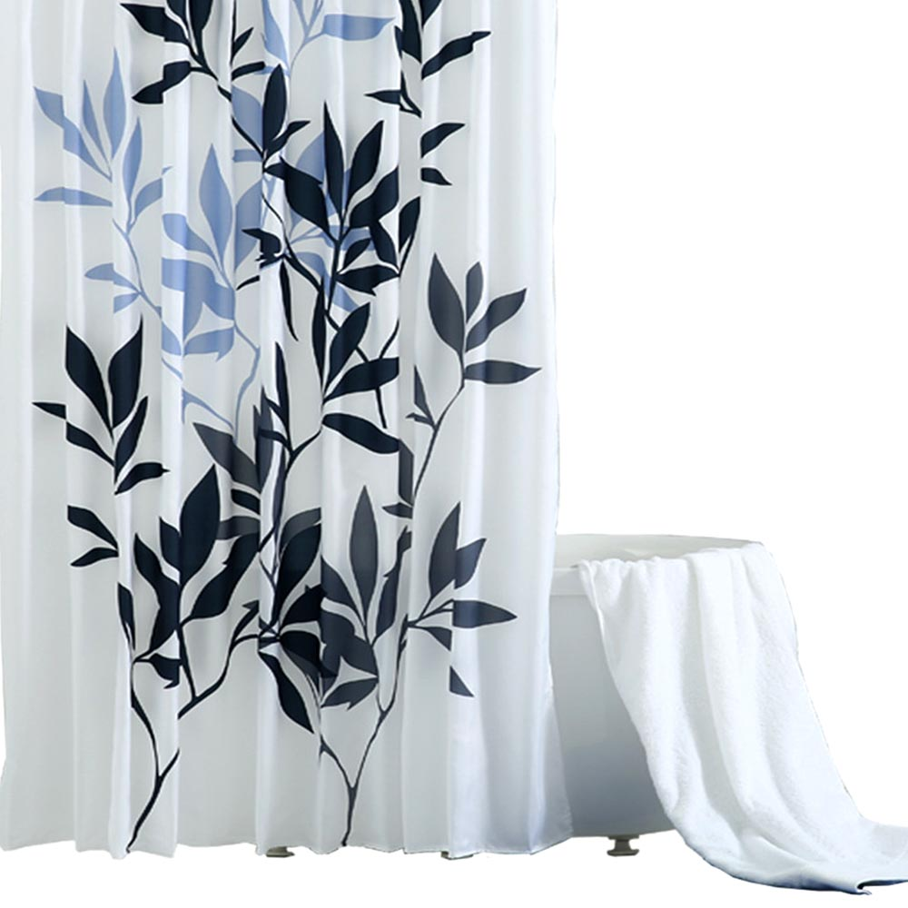 Leaf Print Shower Curtain, Polyester Mildew-Proof  Shower Curtain
