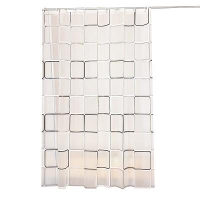 Checkered Bathroom Shower Curtain PEVA Environmental Protection Bathroom Curtain