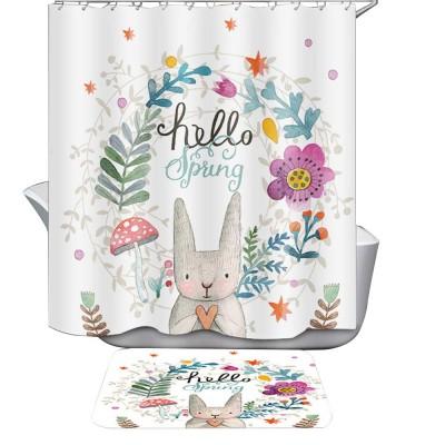 Cartoon Rabbit Shower Curtain, Waterproof American Polyester Shower Curtain