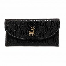 Snake Leather Purse, Sleek Minimalist Buckle Wallet For Ladies