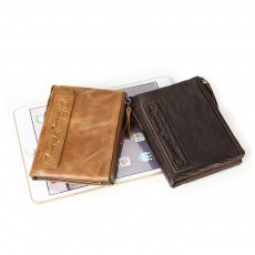 Double Zipper Wallet with Multi-card, First Layer Leather Money and Card Holder Purse for Men