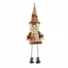 Fabric Santa Claus Figurine, Iron Feet Standing Santa Claus Ornaments