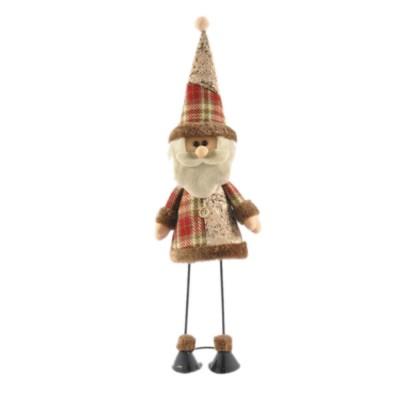 Fabric Santa Claus Figurine, Iron Feet Standing Santa Claus Ornaments