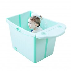 Foldable Child Bath Tub, Plus Size Baby Bath Tub with Shelf