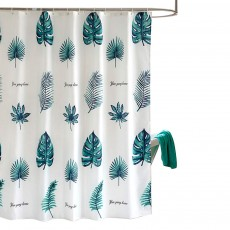 Green Leaf Shower Curtain Bathroom Shower Curtain with Sending Hooks and Increasing Plumb Bobs