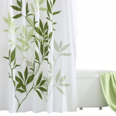 Plant Printing Shower Curtain, Polyester Waterproof and Mildew-proof Shower Curtain