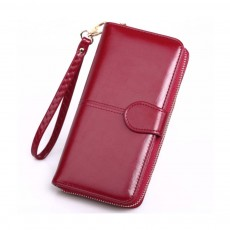 Zippered Phone Wallet With Strap, Female Oil Wax Leather Wallet 2019