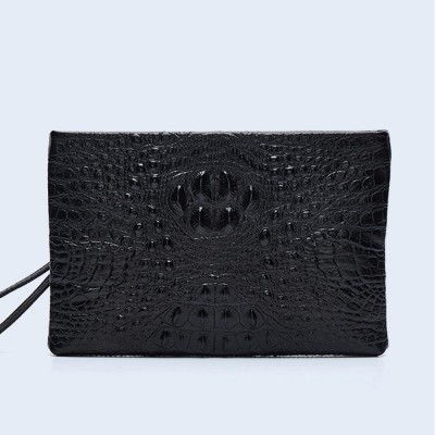 Crocodile Pattern Leather Wallet, Men's Clutch Business Bag