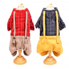 Plaid Overalls Four-leg Pet Clothes, Warm Soft Cotton Puppy Pet Coat Apparel for All Breeds