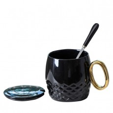 Ceramic Coffee Mug With Lid And Spoon, Plain Color Porcelain Coffee Mug