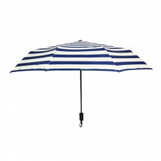 Three-Fold Navy Striped Umbrella, Uv Resistant Compact Travel Umbrella