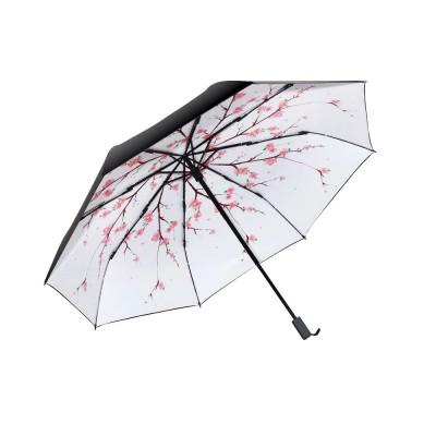 Sun Protection UV Resistant Black Umbrellas - Three Folding