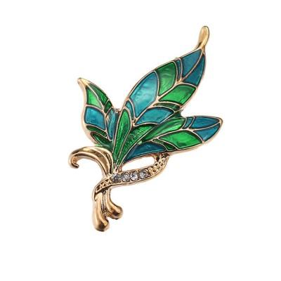 Green Rhinestone Leaf Brooch, Alloy Diamond-Encrusted Women's Corsage
