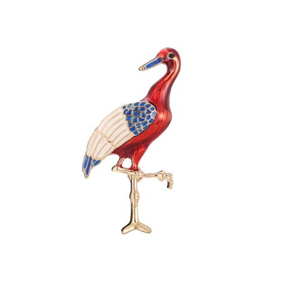Lucky Bird Pin with Drip Enamel Craft and Red-crowned Crane Design