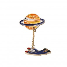 Alloy Astronaut Pin, Color Planet Astronaut Brooch With Dripping Oil Craft