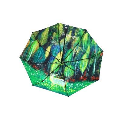 Fantasy Forest Elk Small Black Umbrella, Three Fold Anti-UV Rain Umbrella