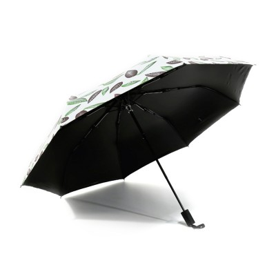 Anti-UV Sun Umbrella with Black Gum, Triple Folding Umbrella With Strong Windproof