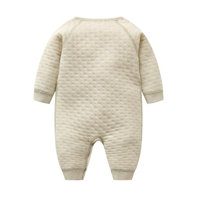 Unisex Baby Romper Skin-friendly Organic Cotton Baby Onesie Pure Color Long Sleeve Babysuit