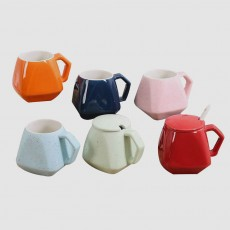 Polygonal Style Ceramic Coffee Milk Mugs, Colorful Stylish Porcelain Mugs