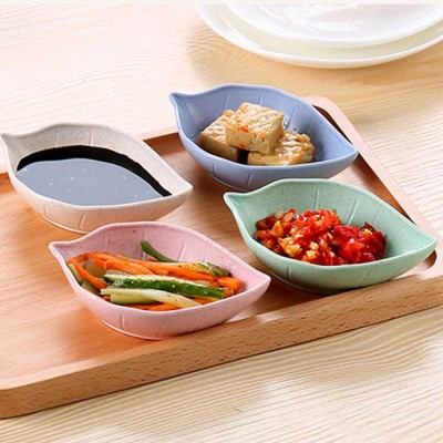 Wheat Straw Baby Food Bowls Spoons Sets Fruit Snack Plate Seasoning Sauce Dish