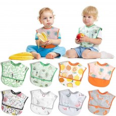 Cotton Baby Eating Bib with Hidden Type Rice Bag, Eva Cartoon Waterproof Disposable Baby's Bib
