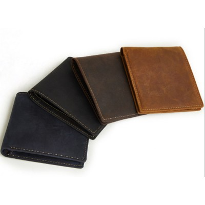 Men's Leather Short Wallet with RFID, Wear-resistant Fashion Casual Purse with Multi-cards