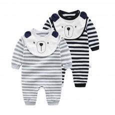 Baby Girl Organic Cotton Long Sleeve Romper, Lovely Bear Shape Stripe Onesie