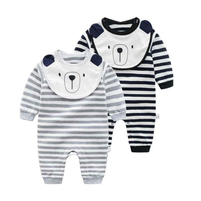 Baby Girl Organic Cotton Long Sleeve Romper, Lovely Bear Shape Stripe Onesie