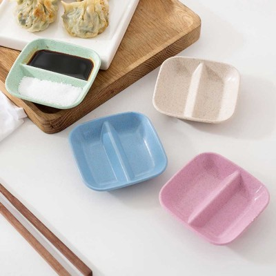 10 PCS Relish Tray Serving Dish With 2 Compartments, Creative Wheat Straw Relish Plate