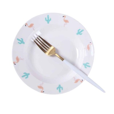 Ceramic Flamingo Plates, Lead Free Porcelain Dinnerware Printed Dishes
