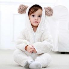 Polar Fleece Baby Romper, Ultra Warm Winter Autumn Baby Girl Hooded Romper