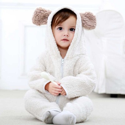 Polar Fleece Baby Romper, Ultra Warm Winter Autumn Baby Girl Hooded Romper