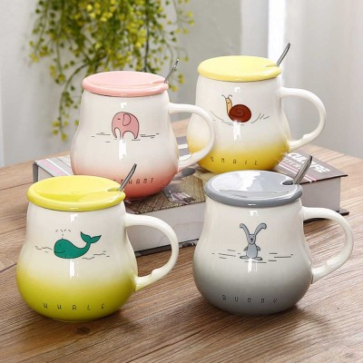 Cartoon Pot Bellied Mugs, Gradient Color With Cover Scoop Lovely Ceramic Animal Mug, 401-500ml
