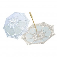 White Lace Umbrella for Wedding, Wedding Parasol with Wooden Handle