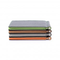 Leather Card Wallet With Money Clip, Sewing Thread Flip Wallet Credit Card Holder
