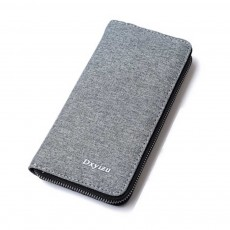 Mens Canvas Long Card Wallet, Business Large Capacity Men's Clutch With Inner Zipper Pocket