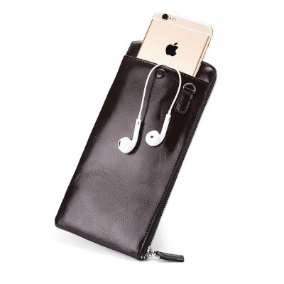 Best Mens Long Bifold Wallet, Genuine Leather Ultra-Thin Zipper Wallet For Mobile Phone