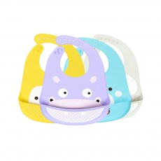 Baby Bib With Food Pocket, Breathable 6-Button Silicone Eating Bib
