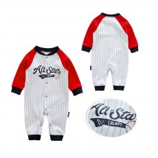 Unisex Baseball Baby Onesie for Spring Autumn Winter, Skin-friendly Cotton Baby Jumpsuit