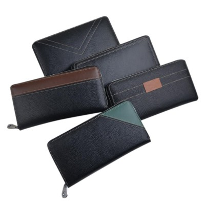 Multi-card Long Wallet with Metal Zipper, Casual Leather Wallet with Large Capacity for Men