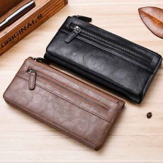 Youth Leather Wallet, Ultra-Soft Lightweight Men'S Long Wallet For Money Credit Card